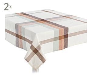 Set de 2 manteles en algodón Sophie, blanco y marrón – 150x180 cm