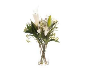 Jarrón de cristal con flores de seda Lirio