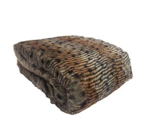 Manta de pelo sintético efecto animal print – marrón I