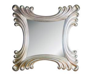 Espejo cuadrado en resina-plata vieja
