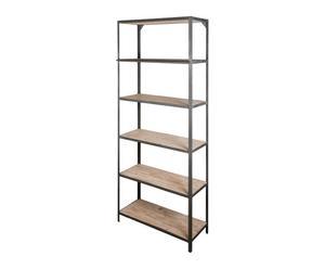 Estantería de forja y madera de olmo con escalera – gris