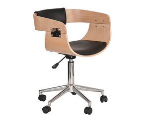 Silla de oficina con ruedas - natural y negro