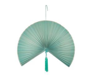 Abanico decorativo de bambú, azul mar - grande