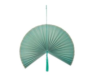 Abanico decorativo de bambú, azul mar - mediano
