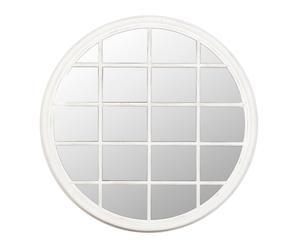 Espejo de madera de pino Ventana, redondo- blanco