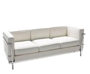 Sofá de 3 plazas de acero inoxidable y ecopiel – Blanco