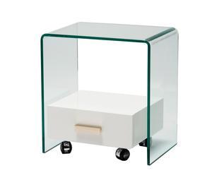 Mesita de cristal con 1 cajón– blanco y transparente