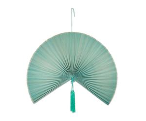 Abanico decorativo de bambú, azul – grande