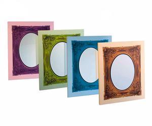 Set de 4 espejos de madera forrados de tela
