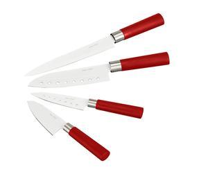 Set de 4 cuchillo de cocina en cerámica Quttin - rojo II