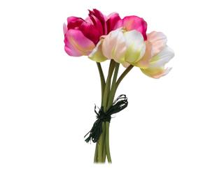 Ramo de tulipanes de poliéster – crema, rosa y fucsia