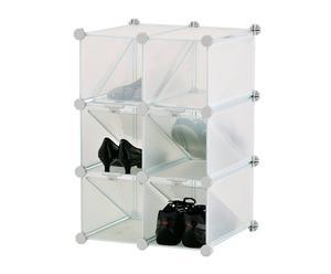 Estantería con 6 cubos en acero y plástico - blanca