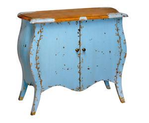 Cómoda con 2 puertas en madera de fresno envejecida – azul