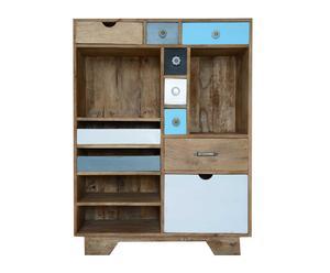 Mueble con estantes y cajones en madera de mango, multicolor – grande II