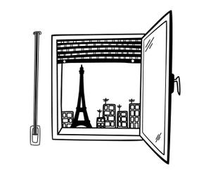 Vinilo adhesivo Ventana de París – 100x100 cm