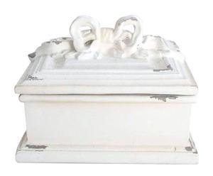 Caja cuadrada de resina – blanco envejecido
