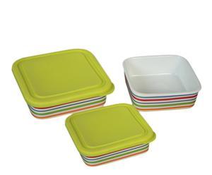 Set de 3 fiambreras de cerámica con tapa de silicona – blanco y verde