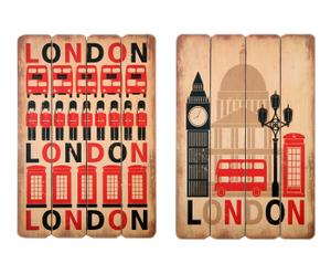 Set de 2 cuadros en madera London - 60x40