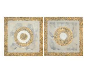 Set de 2 cuadros de madera Círculos - dorado