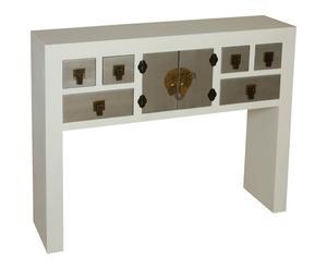 Consola de madera de paulonia – plateado y blanco