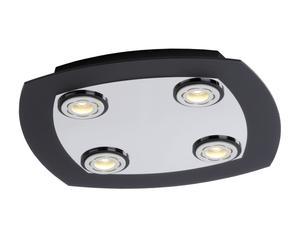 Plafón con 4 LED – cromo y negro