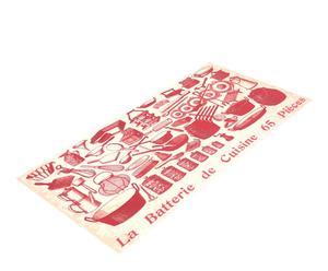Alfombra vinílica de cocina Batería de cocina, rojo – 50x120