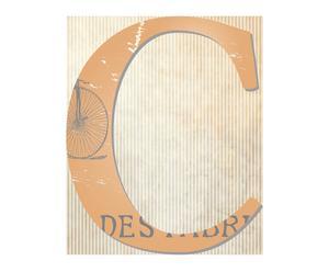 Alfombra vinílica letra C con fondo de periódico antiguo– 99x120