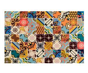 Alfombra vinílica decorativa baldosas hidráulicas, multicolor – 100x150