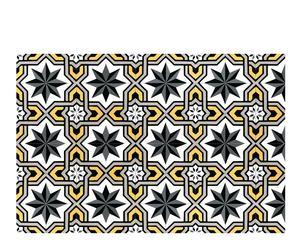 Alfombra vinílica Mosaico, gris y dorado – 70x100