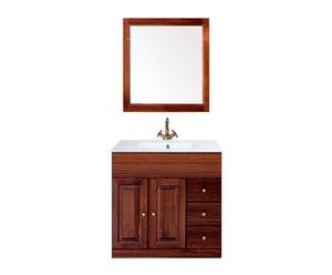 Mueble de lavabo en madera de pino Bahía – nogal