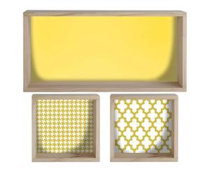 Set de 3 cajas de madera de pino Yellow