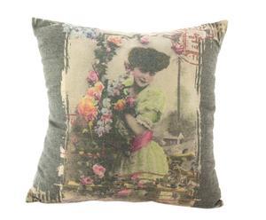 Cojín de lino Vintage Girl