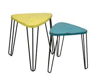 Set de 2 mesas auxiliares en metal – amarillo y azul