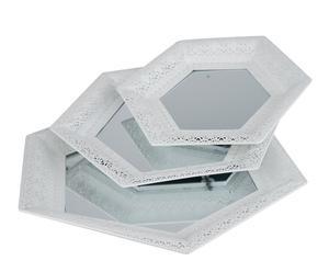 Set de 3 bandejas hexagonales en metal y espejo – blanco