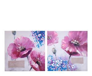 Set de 2 lienzos flores lilas