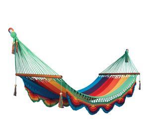 Hamaca en red de algodón extra con flecos – multicolor