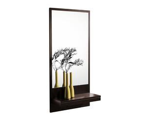 Recibidor con espejo y estante de madera – wengué