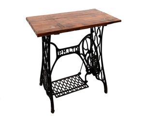 Antigua mesa de máquina coser en hierro y madera de mango