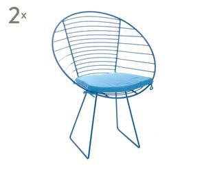 Set de 2 sillas de metal, azul - 68x54x80 cm