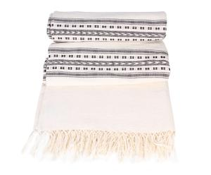Mantel de algodón, café y blanco – 285x170