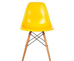 Silla en ABS y madera de haya Tower – amarilla
