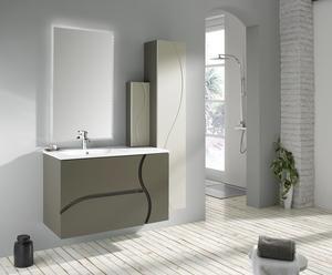 Mueble de baño suspendido, lavabo y espejo ZOE 100