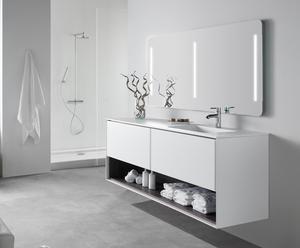 Mueble de baño suspendido, lavabo y espejo GEO 100