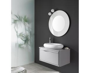 Mueble de baño suspendido, lavabo y espejo THAIS UNO 60