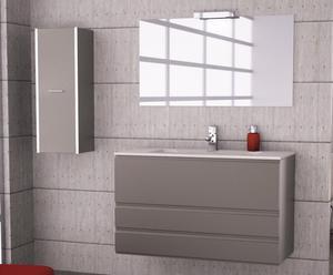 Mueble de baño suspendido, lavabo y espejo LOFT 100 -ANTRACITA METALIZADO