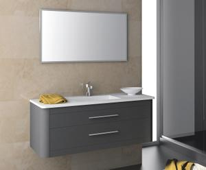 Mueble de baño suspendido, lavabo y espejo CLAN 80 -ANTRACITA METALIZADO