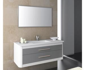 Mueble de baño suspendido, lavabo y espejo CLAN 100 - BLANCO Y ANTRACITA METALIZADO