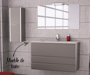 Conjunto de mueble de baño y lavabo Loft 100 –antracita