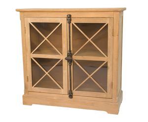 Estantería con puertas en madera DM y abeto, pequeña – natural