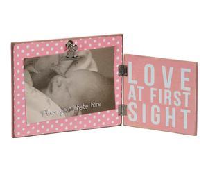 Marco de fotos en madera con clip, rosa – 31x15 cm